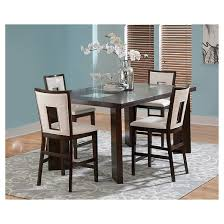 5 piece broward counter height dining table set wood white brown