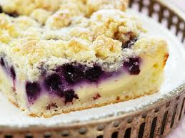 blueberry quark cake with crumble