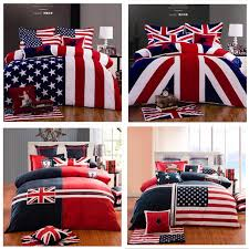 100 Cotton Fashion Home Texile American Flag Bedding Set USA UK Queen King British Quilt Duvet Cover In Sets From