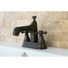 Brushed Bronze Tub Faucet by Metal Cross Handles Tagged
