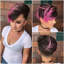 Bed Head Curlipop by Women U0027s Brunette Combover Pixie With Bright Pink Highlights And