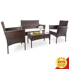 Romatlink, 4 Pieces Outdoor Rattan Patio Furniture Set, Modern Wicker  Conversation Sofa Chairs With Cushioned Loveseat Armchairs & Glass Top  Coffee ... Supagarden Csc100 Swivel Rattan Outdoor Chair China Pe Fniture Tea Table Set 34piece Garden Chairs Modway Aura Patio Armchair Eei2918 Homeflair Penny Brown 2 Seater Sofa Table Set 449 Us 8990 Modern White 6 Piece Suite Beach Wicker Hfc001in Malibu Classic Ding And 4 Stacking Bistro Grey Noble House Jaxson Stackable With Silver Cushion 4pack 3piece Cushions Nimmons 8 Seater In Mixed