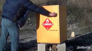 Fireproof Storage Cabinet For Chemicals by Scimatco Flammable Chemical Storage Cabinet Burn Test Youtube
