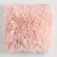 Blush Mongolian Lamb Fur Throw Pillow