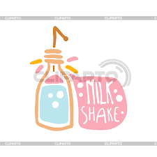 Milk Shake Colorful Logo Template Element For Restaurant Bar Cafe Menu Sweet Shop Hand Drawn Vector Illustration Isolated On A White Background
