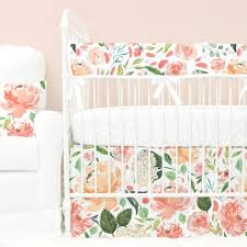 Coral And Mint Crib Bedding by Secret Garden Peach Watercolor Floral Bumperless Crib Bedding