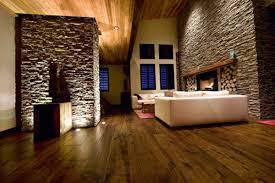 جدار الحجر الطبيعي في غرفة المعيشة في تصميم نمط البلد