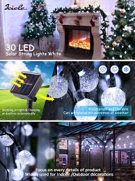 Outdoor Halloween Decorations Amazon by Icicle Solar String Lights 20ft 30 Led Waterproof Outdoor Fairy