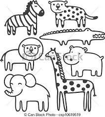 zoo animals clipart black and white 2