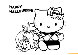 Hello Kitty Playing Halloween Coloring Page
