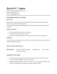 Resume Sample Of Teacher Objective For Applicant