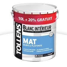 peinture tollens murs et plafonds blanc mat 10l 20 castorama