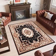 tapiso scarlet teppich kurzflor traditionell teppiche in schwarz beige mit klassisch floral medaillon muster ideal für wohnzimmer schlafzimmer ökotex