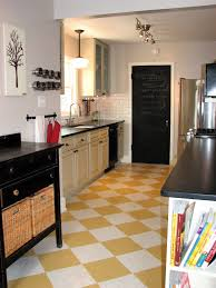 stunning yellow checkerboard kitchen floor tile design in a