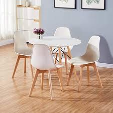 goldfan esstisch mit 4 stühlen essgrupp runder tisch und weißer stuhl esstisch set für wohnzimmer küche usw 80cm