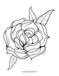 A Rose Set Against Its Calyx And Leaves Decorates This Flower Coloring Page For Adults