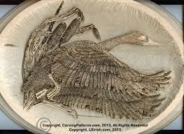 free online relief wood carving project flying canada goose by