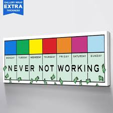 Never Not Working Professional Office Wall Decor Ideas Canvas Quotes Ikonick