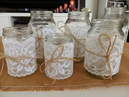 Glass Jars Lace Decorated Wedding Vintage Rustic