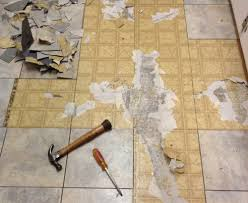 Tiling A Bathroom Floor Over Linoleum by Tearing Out Old Kitchen Flooring Planitdiy