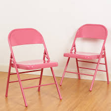 Pink Metal Folding Chairs Pair/Set Of 2 Fold Up Design ...