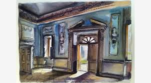 George Campbell Tinning Main Entrance Lydiard Tregoze Empty Dining Room