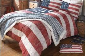 Budget Friendly Weathered Red White And Blue American Flag Bedding Set