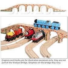 amazon com wooden train track set 52 piece pack 100 compatible