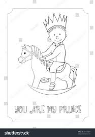 Kid Cartoon Cute Prince Outline Card Vector Coloring Page For Boy And Girl Hand
