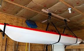kayak ceiling hoist diy get your kayaks properly stored with a hoist storage system