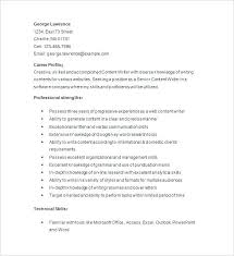 Writer Resume Template Content Sample Service Advisor