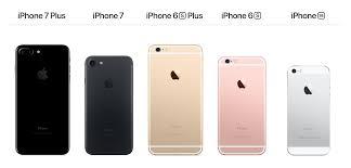 The iPhone 7 the iPhone 7 Plus the iPhone 6 and the iPhone SE