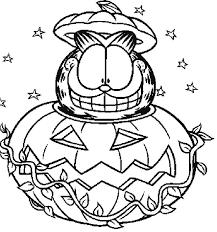 Garfield And Pumpkins Coloring Page