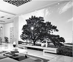 tapeten für wohnzimmer schwarzweiss bäume gestalten