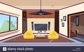 modernes wohnzimmer interieur mit sitzsäcken und großen