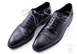 Blue Grey Shoelaces Round Luxury Waxed Cotton Dress Shoe Laces By Fort Belvedere