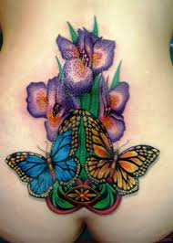 Iris Flower Tattoo On Lower Back