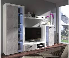 Anbauwand Wohnzimmer Mã Bel Möbel Akut Wohnwand Rumba In Weiß Und Beton Hell Wohnzimmer