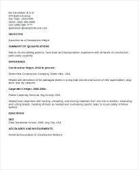 Construction Helper Resume Sample General