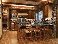 Hardwood Breakfast Bar Exposed Beams Peninsula Rustic Quartz Raised Panel Kitchen IdeasKitchen