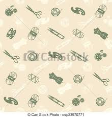 seamless pattern with sewing supplies on the beige vectors