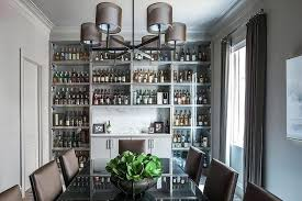 Built In Bar Cabinets Gray Dining Room With Full Wall Of Glass Front