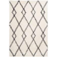 hochflor shaggy teppich rauten berber muster wohnzimmer creme weiß 80cm x 150cm