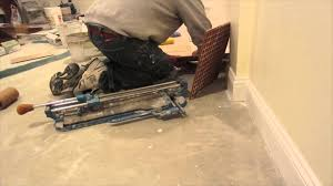 tile installation time lapse of a basement floor