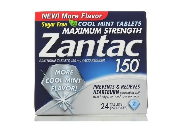 Zantac Maximum Strength Cool Mint Ranitidine Tablets - 150mg, 24 Tablets