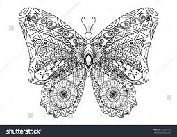 Hand Drawn Butterfly Zentangle Style For Coloring Book Adults