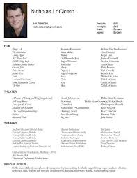 Acting Resume Special Skills Examples Talent Template With Regard To