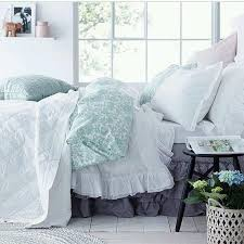 Lush Decor Serena Bedskirt by White Ruffle Duvet Cover With Mint Bed Cover Ellosofficial