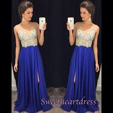 elegant v neck blue chiffon prom dress with sequins top