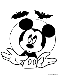 Disney Halloween Coloring Pages To Print by Mickey Mouse And Bats Disney Halloween Coloring Pages Printable